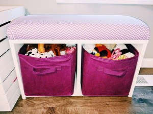 custom storage bench with bins