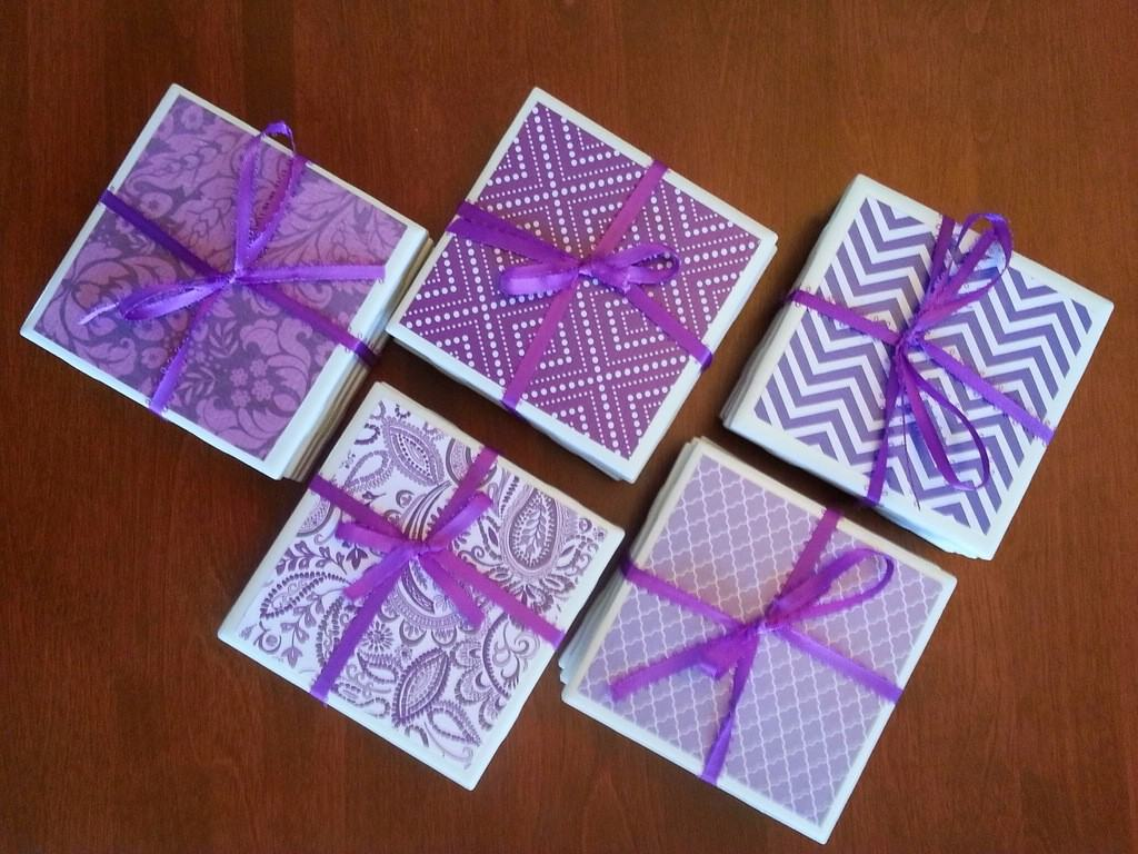 tile coasters recycled design art