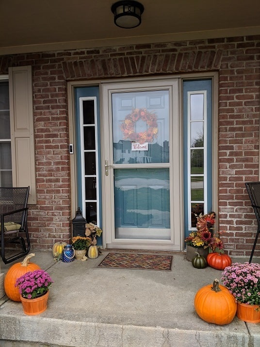 Colorful front porch fall decor