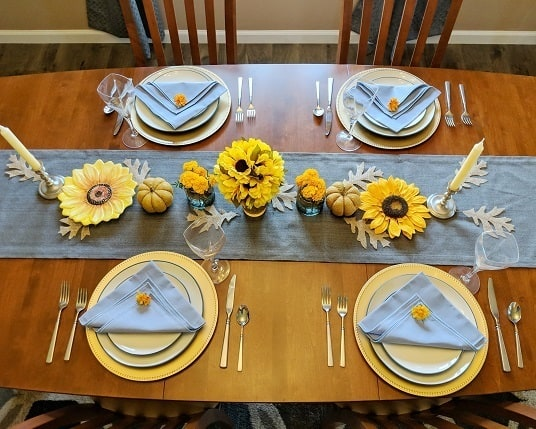 Yellow Fall tablescape - sunflowers and marigolds