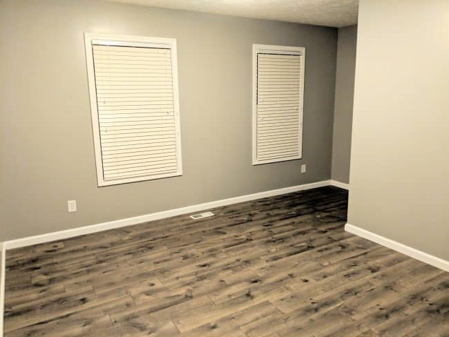 Office paint color - Repose Gray - Southern Gray Oak flooring by Pergo