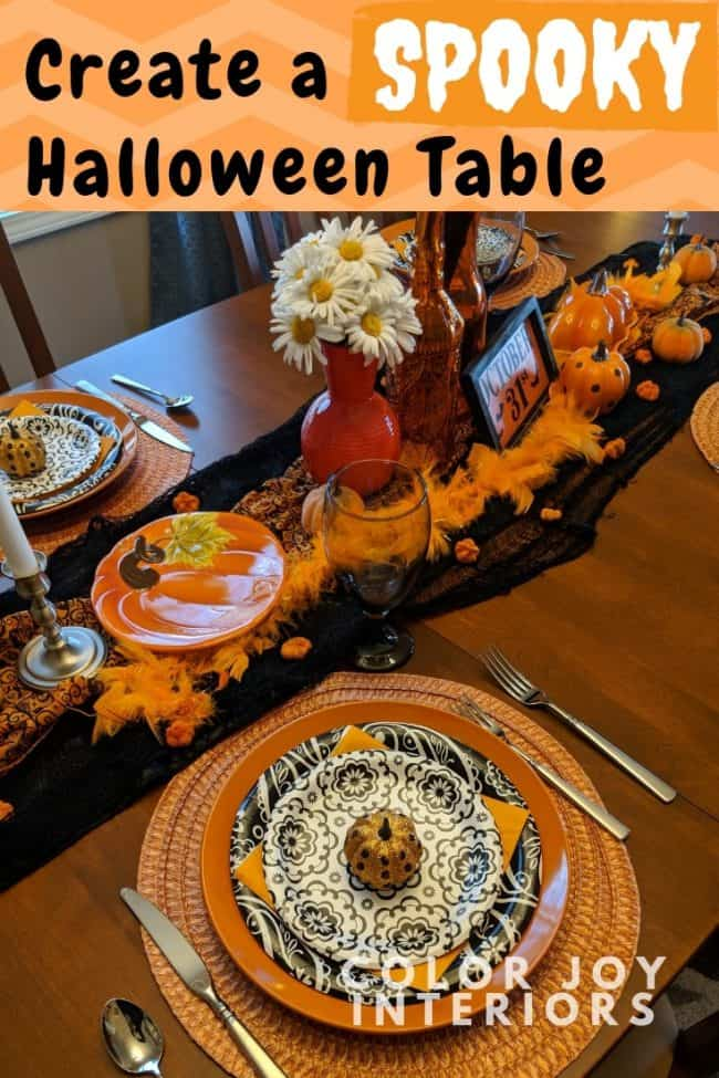 Dollar Tree black orange Halloween table setting