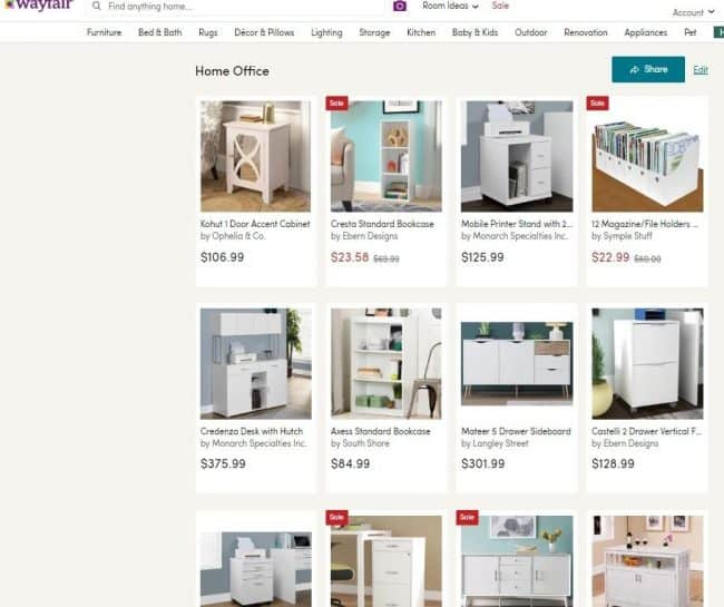 Wayfair One Room Challenge office furniture selection