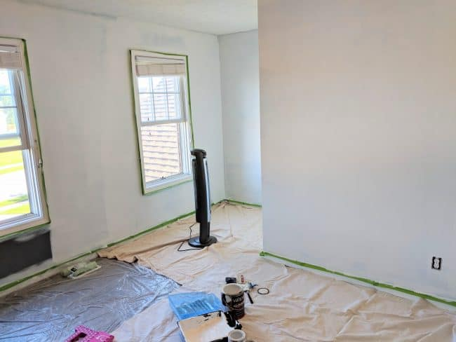 office renovation wall primer - One room challenge week 3