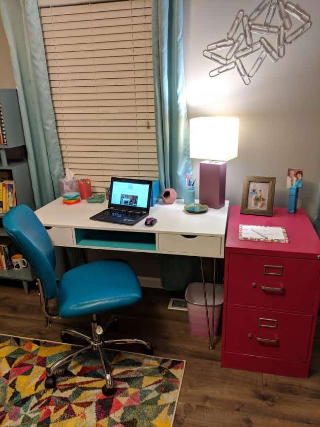 Teal and white mid century office desk