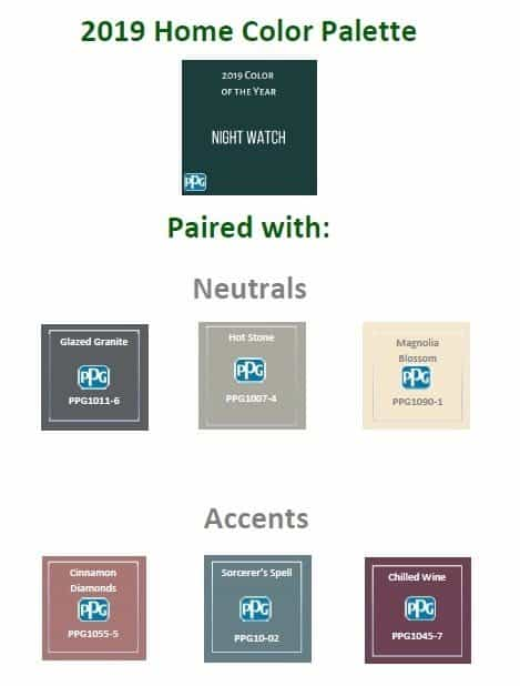 Neutral and accent colors that coordinate with Night Watch