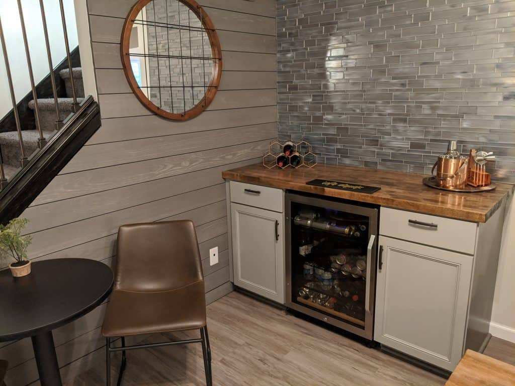 cozy winter home ideas - basement snack bar for family time