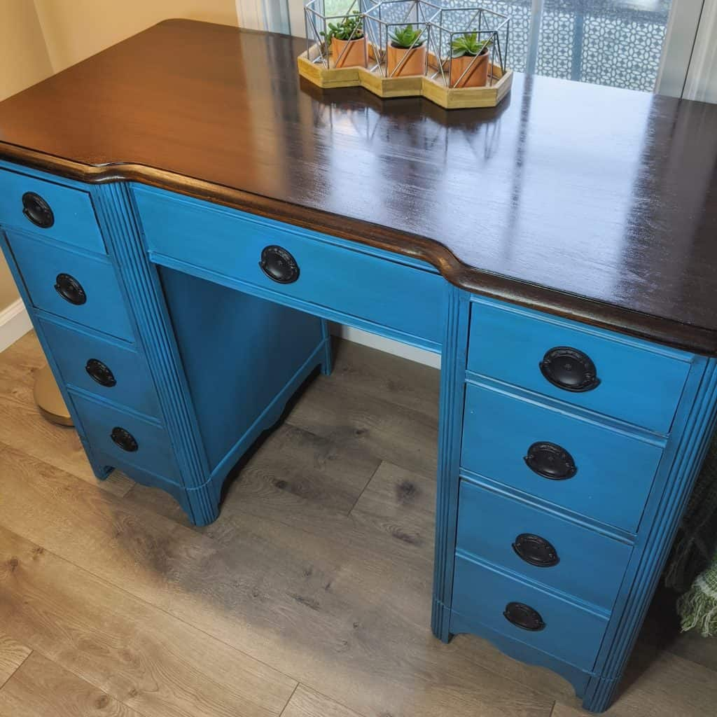 Vintage Desk Makeover  - Dixie Belle peacock mineral paint