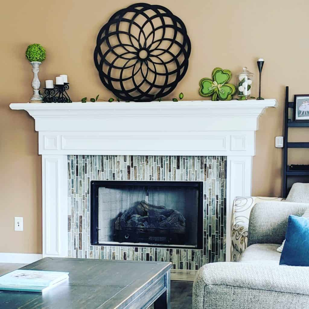 neutral decor style - fireplace surround glass tile in neutral family room