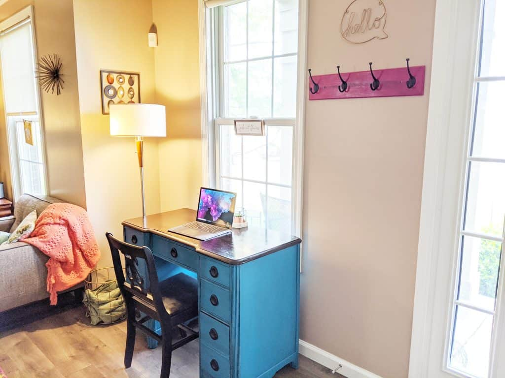 Entryway desk area - creating a home office space