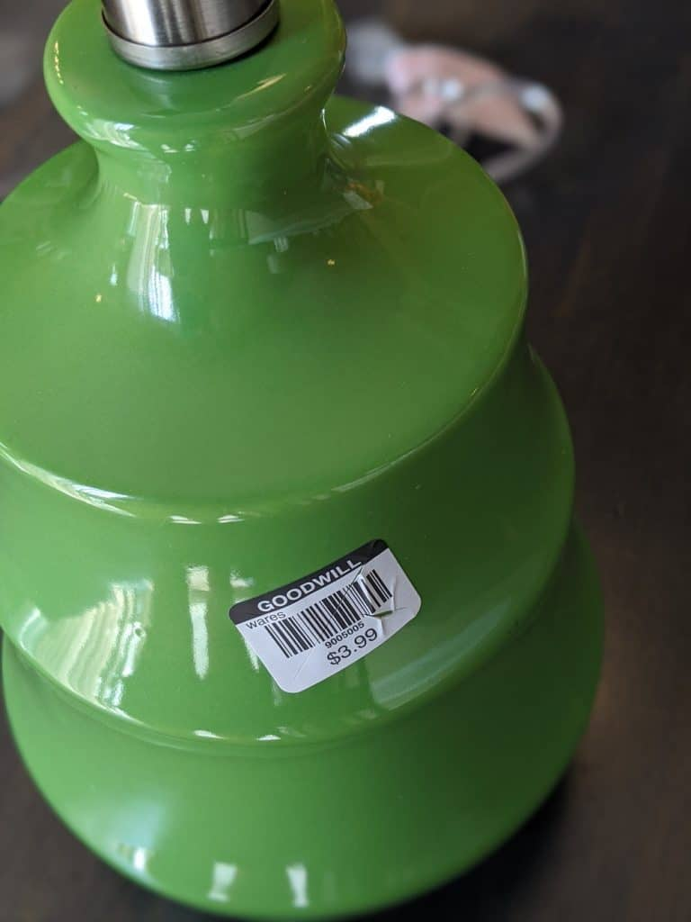 Green lamp base - subject of my colorful DIY lamp project