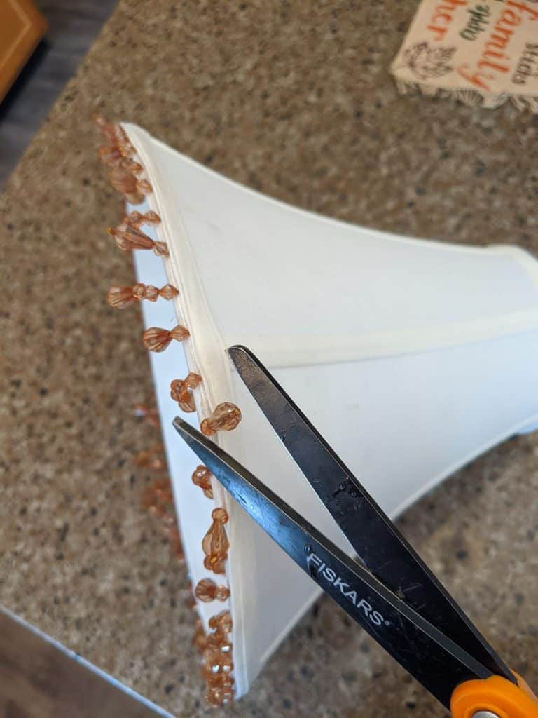 cutting off the beaded trim of my lampshade